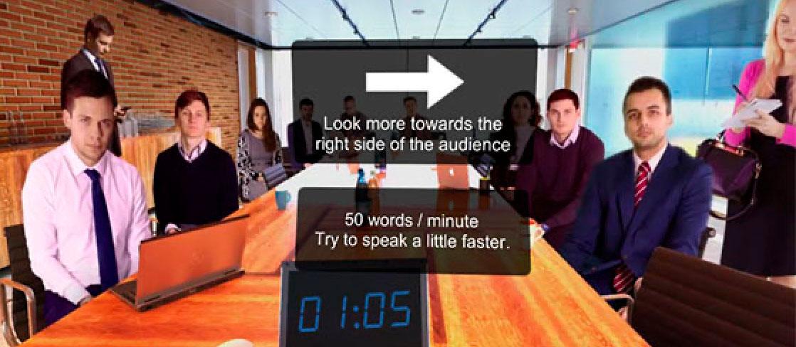 Imagen de realidad virtual de una sesión para aprender a hablar en público